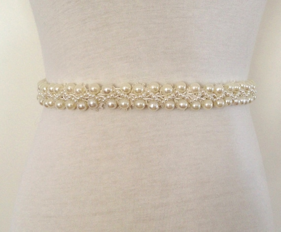 Ivory Sash Bride Belt Beaded Pearl By Roseybloomboutique