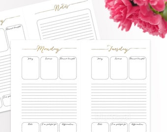 A5 Printable to do list, daily to-do printable, weekly planner, daily planner, printables for A5 planner, back to school - ORG 007 A Melinda