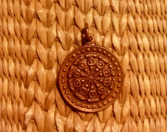 Copper Dharma Wheel Pendant from Thailand - 1 Inch