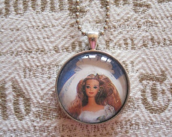 "Old Papers - ""Midge's wedding"" glass cabochon necklace - gift for her - upcycled"