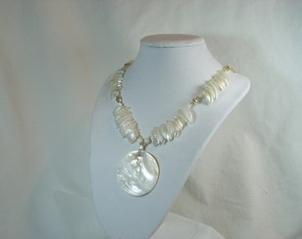 Gorgeous One Of A Kind Design, Mother of Pearl Shell Necklace