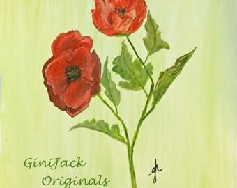 Original Watercolor Painting, Poppies, 11X14
