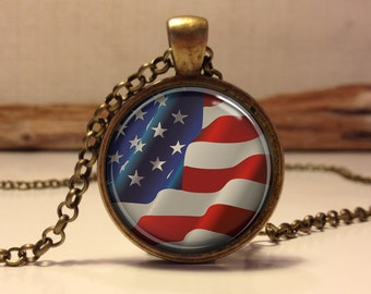 American Flag Necklace, Patriotic American Flag Necklace, American Flag Pendant, Independence Day Jewelry, 4th of July Necklace (flag#4)