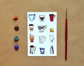 Coffee Cups & Mugs Postcard + Optional Envelope. Coffee Lover or Number One Boss Card. Hand-Painted Watercolor Illustration Postcard.