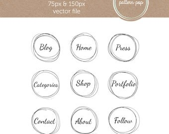 Hand Drawn Website and Blog Icons - social media icons/buttons