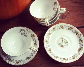Vintage 1950's Set of Four Tea Cups with Saucers decorated with Berries and Leaves
