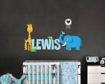 Baby Name Giraffe - Elephant and Turtle- Zoo Animals Removable & Reusable Fabric vinyl-  Jungle animals with baby name decal - 63