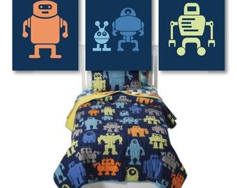 Boy Robot Nursery Art. Boy Bedroom Decor. Robot Bedroom Art.  Boy Nursery Art. Boy Bedroom Art. Robot Art. Robot Prints. Robots. (NS-608)