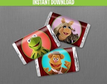 Muppets Birthday Mini Chocolate Wrappers - Instant Download and print with Adobe Reader