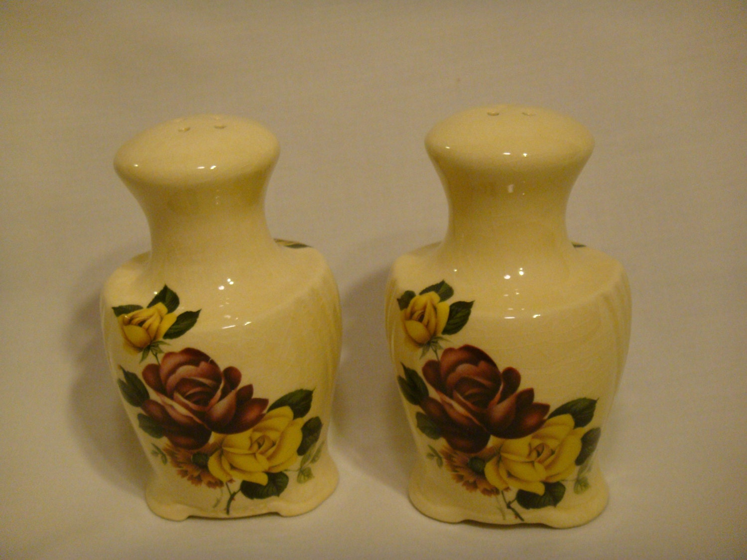 Ceramic Salt And Pepper Shakers Rustic Floral By