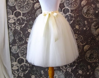 Ivory Tulle Skirt - Adult Knee Length Tutu with Ribbon Waist and Ties - Custom Size - Made to Order
