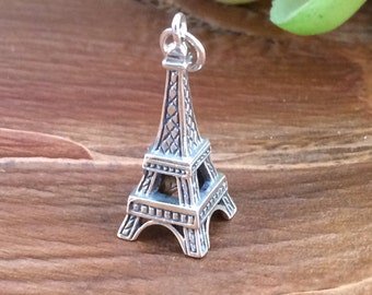 Eiffel Tower Charm, Eiffel Tower Pendant, Paris Charm, Paris Pendant, France Charm, France Pendant, Sterling Silver Eiffel Tower, PS0118