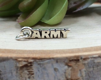 Army Charm, Army Pendant, Military Charm, My Boy Serves His Country Charm, Sterling Silver Charm, Sterling Silver Pendant, PS0633