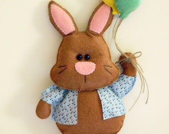 PDF Pattern: Mr. Bunny and Balloons. Felt Pattern. Plush Pattern - Instant Download