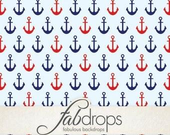 Red & Blue Nautical Ship Anchors Sailor Backdrop (FD2027)