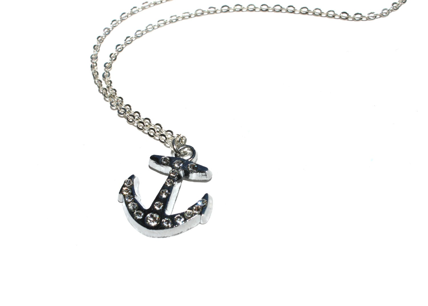silver anchor necklace anchor charm by thejoyfuljewelrybox