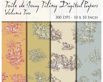 10 Seamless Toile De Jouy individual Digital Papers. 300 DPI. 10 Inch. Instant Download.