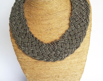 Charcoal Grey Necklace/Beaded Necklace/Silver Statement Necklace/Bib Necklace/Boho Necklace/Bohemian Necklace/Braided Necklace.
