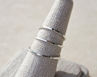 Argentium Stacking Ring, Silver Ring, Hammered Silver Ring, Silver Stacking Rings