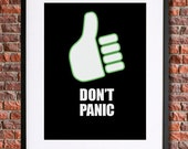Hitchhiker's Guide to the Galaxy Poster | Instant Download Printable Poster | Quote Don't Panic | Douglas Adams, 42 | Science Fiction Sci Fi
