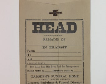 vintage 20's - 30's Funeral Home - Mortuary casket envelope. HEAD. Used when shipping bodies....