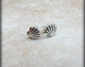 Shell earrings, sterling silver shell earrings, Ocean earrings, Beach earrings