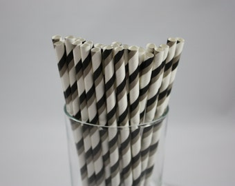 """25 Black Grey and White Striped Paper Straws - 7.75"""" - black and white - grey and white -  baby shower - birthday party - over the hill"""