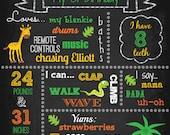 Custom First Birthday Colored Chalkboard - Jungle - Safari - Birthday Sign - Printable - Digital