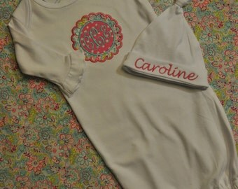 Personalized Infant Gown with Ruffles sleeves and a Knot Hat for Girls