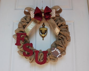FSU Burlap Wreath - Football wreath - Florida State University Wreath -Seminole wreath