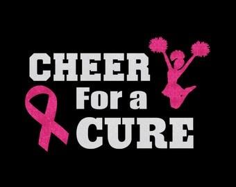 Custom Cheer For A Cure Cheerleader Breast Cancer Awareness Pink Ribbon Iron On Vinyl Or Glitter Vinyl Heat T-shirt Transfer