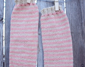 MADE TO ORDER baby legwarmers // hand-knit striped leg warmers // custom colors