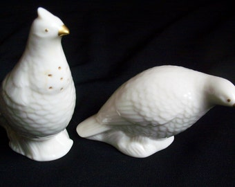 Reduced - Vintage Lenox Fine China Handcrafted Ivory and Gold Trim Figural Quail Salt and Pepper Shakers - Rare