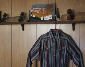 Vintage Panhandle Slim striped long sleeve button down pearl snap crafted with pride in the USA