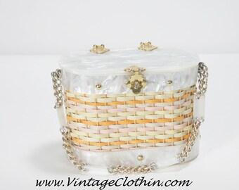 Rare 1950s Stylecraft Miami Lucite Basket Wicker Box Purse, Lucite Purse, Box Purse, 1950s Purse, Vintage Purse, Vintage Handbag,
