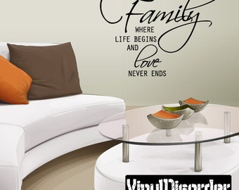 Family where life begins and love never ends  - Vinyl Wall Decal - Wall Quotes - Vinyl Sticker - Mvd005ET