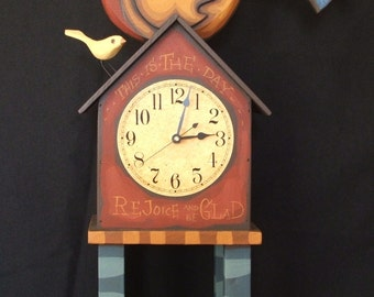 Whimsical Hand carved Wooden Peafowl Clock