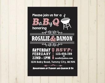 baby shower bbq invitation girl baby shower invite invitation printable chalkboard invitation printable co ed baby