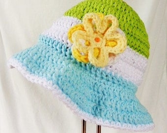 Baby Girl Sunhat, Summer hat with Brim and yellow flower, Green, White and Turquoise, 6-12 month, Crochet 100% Cotton