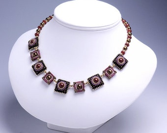 Choker necklace black, square necklace, black, red, statement square, swarovski glass pearls, beaded necklace, free shipping, 374-1