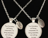 2 Necklaces True Friendship Long Distance Quote Best Friends Sisters BFF Necklace Set