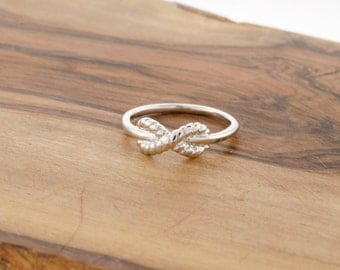 FREE SHIPPING 925 Sterling Silver Rope Infinity Ring