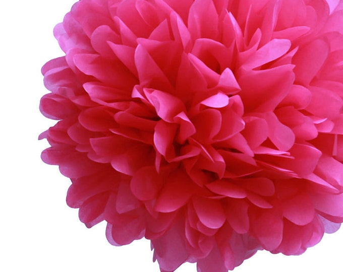 Hot Pink Tissue Paper Pom, Hot Pink Pom, Hot Pink Tissue Paper Pom Pom, Hot Pink Paper Flower, Tissue Flower, Wedding & Birthday Party Decor