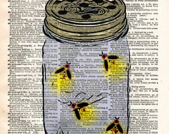 Firefly jar, fireflies in mason jar, childrens art vintage dictionary art print