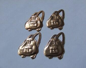 Unusual Vintage Jewellery Findings, Haversacks/Bags X 10 Brass or Copper