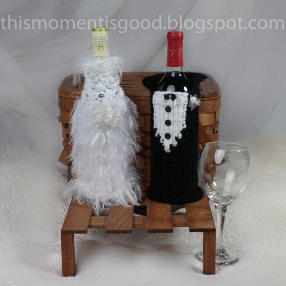 Knitting Pattern Wine Bottle Cover : Loom Knit Wine Bottle Cover Pattern Bride & Groom 2