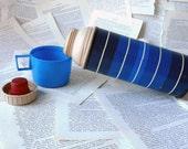 Vintage Thermos 70s Blue Striped 1970s Travel Camping Picnic Mug