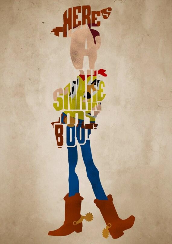 Sheriff Woody Toy Story Poster Minimalist Typography