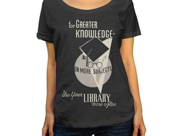 Visit Your Library Vintage Scoop Neck Top - Ladies Sizes (X-Small-2X)