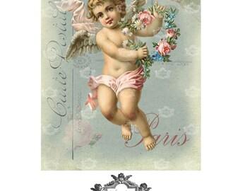 Parisian Cherub, French, cherub, flowers, romantic, wings, wickedlylovely blank art greeting card